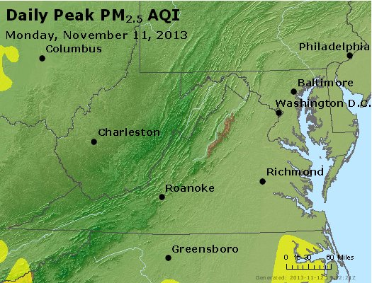 Peak Particles PM<sub>2.5</sub> (24-hour) - https://files.airnowtech.org/airnow/2013/20131111/peak_pm25_va_wv_md_de_dc.jpg