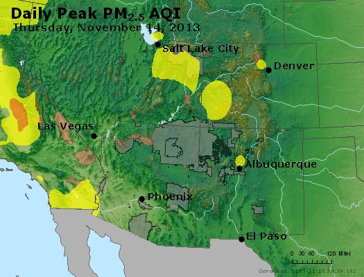 Peak Particles PM<sub>2.5</sub> (24-hour) - https://files.airnowtech.org/airnow/2013/20131114/peak_pm25_co_ut_az_nm.jpg