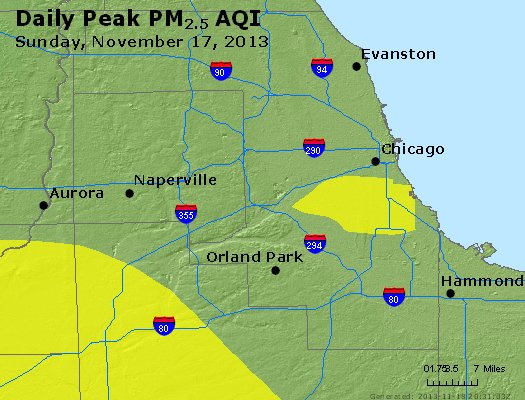 Peak Particles PM<sub>2.5</sub> (24-hour) - https://files.airnowtech.org/airnow/2013/20131117/peak_pm25_chicago_il.jpg