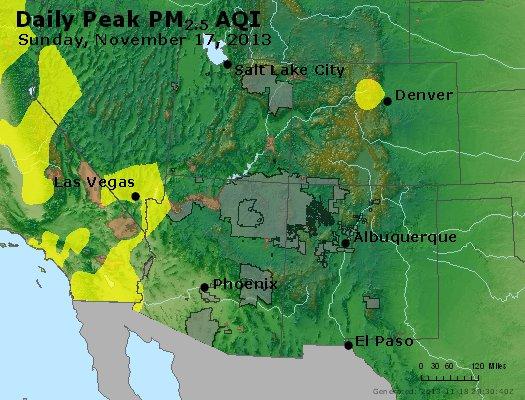 Peak Particles PM<sub>2.5</sub> (24-hour) - https://files.airnowtech.org/airnow/2013/20131117/peak_pm25_co_ut_az_nm.jpg
