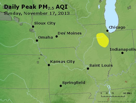 Peak Particles PM<sub>2.5</sub> (24-hour) - https://files.airnowtech.org/airnow/2013/20131117/peak_pm25_ia_il_mo.jpg