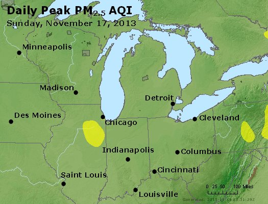 Peak Particles PM<sub>2.5</sub> (24-hour) - https://files.airnowtech.org/airnow/2013/20131117/peak_pm25_mi_in_oh.jpg