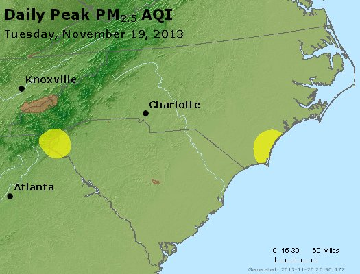Peak Particles PM<sub>2.5</sub> (24-hour) - https://files.airnowtech.org/airnow/2013/20131119/peak_pm25_nc_sc.jpg
