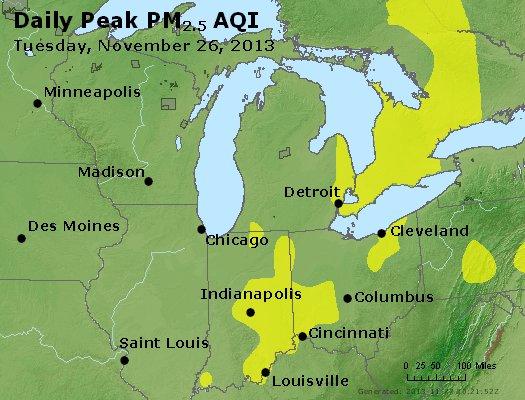 Peak Particles PM<sub>2.5</sub> (24-hour) - https://files.airnowtech.org/airnow/2013/20131126/peak_pm25_mi_in_oh.jpg
