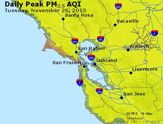 Peak Particles PM<sub>2.5</sub> (24-hour) - https://files.airnowtech.org/airnow/2013/20131126/peak_pm25_sanfrancisco_ca.jpg