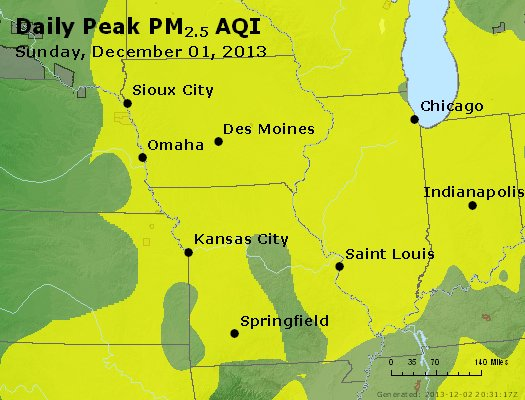 Peak Particles PM<sub>2.5</sub> (24-hour) - https://files.airnowtech.org/airnow/2013/20131201/peak_pm25_ia_il_mo.jpg