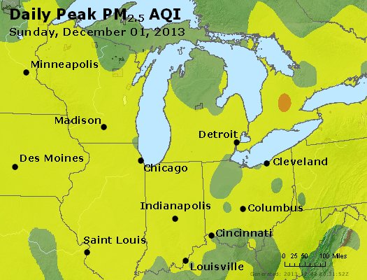 Peak Particles PM<sub>2.5</sub> (24-hour) - https://files.airnowtech.org/airnow/2013/20131201/peak_pm25_mi_in_oh.jpg