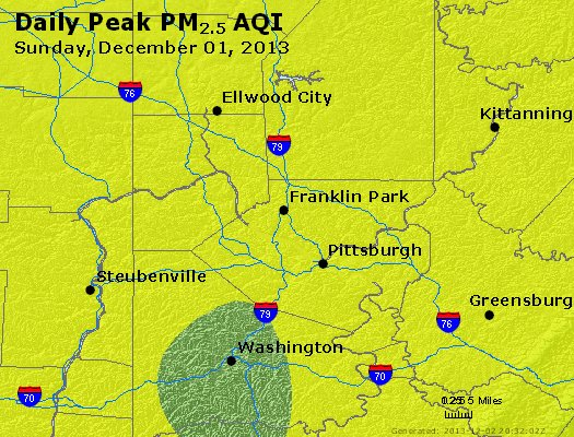 Peak Particles PM<sub>2.5</sub> (24-hour) - https://files.airnowtech.org/airnow/2013/20131201/peak_pm25_pittsburgh_pa.jpg