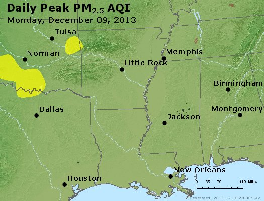 Peak Particles PM<sub>2.5</sub> (24-hour) - https://files.airnowtech.org/airnow/2013/20131209/peak_pm25_ar_la_ms.jpg
