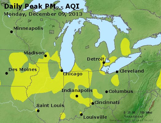 Peak Particles PM<sub>2.5</sub> (24-hour) - https://files.airnowtech.org/airnow/2013/20131209/peak_pm25_mi_in_oh.jpg