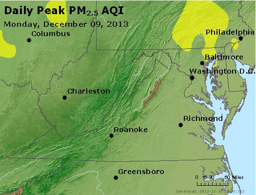 Peak Particles PM<sub>2.5</sub> (24-hour) - https://files.airnowtech.org/airnow/2013/20131209/peak_pm25_va_wv_md_de_dc.jpg
