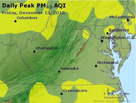 Peak Particles PM<sub>2.5</sub> (24-hour) - https://files.airnowtech.org/airnow/2013/20131213/peak_pm25_va_wv_md_de_dc.jpg