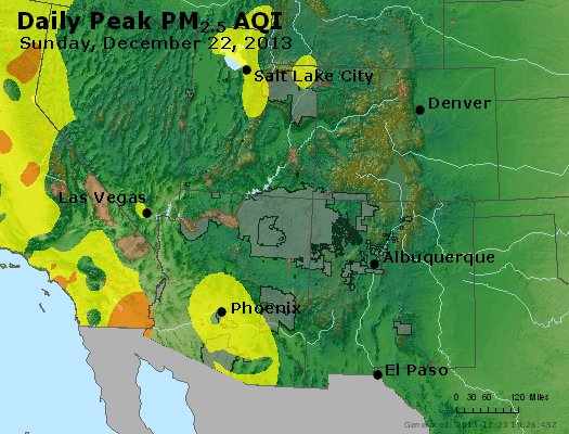 Peak Particles PM<sub>2.5</sub> (24-hour) - https://files.airnowtech.org/airnow/2013/20131222/peak_pm25_co_ut_az_nm.jpg