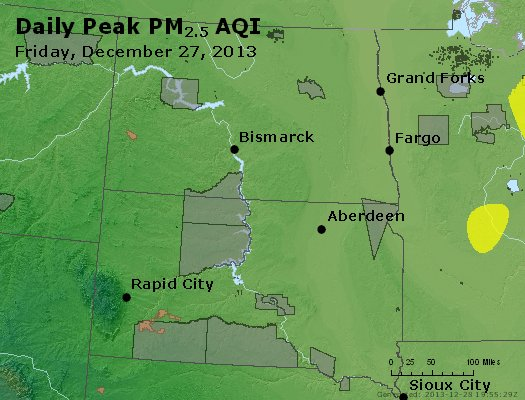 Peak Particles PM<sub>2.5</sub> (24-hour) - https://files.airnowtech.org/airnow/2013/20131227/peak_pm25_nd_sd.jpg