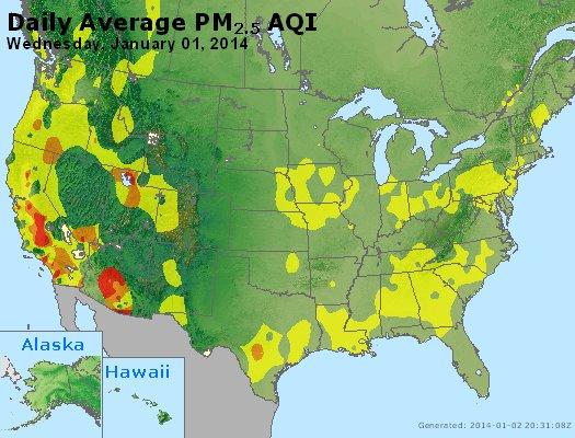 Peak Particles PM<sub>2.5</sub> (24-hour) - https://files.airnowtech.org/airnow/2014/20140101/peak_pm25_usa.jpg