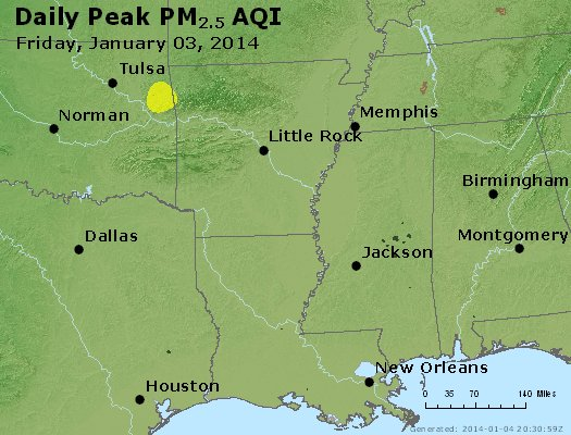 Peak Particles PM<sub>2.5</sub> (24-hour) - https://files.airnowtech.org/airnow/2014/20140103/peak_pm25_ar_la_ms.jpg