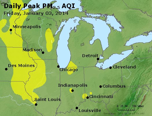 Peak Particles PM<sub>2.5</sub> (24-hour) - https://files.airnowtech.org/airnow/2014/20140103/peak_pm25_mi_in_oh.jpg