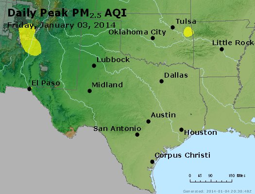 Peak Particles PM<sub>2.5</sub> (24-hour) - https://files.airnowtech.org/airnow/2014/20140103/peak_pm25_tx_ok.jpg