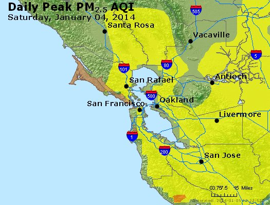 Peak Particles PM<sub>2.5</sub> (24-hour) - https://files.airnowtech.org/airnow/2014/20140104/peak_pm25_sanfrancisco_ca.jpg