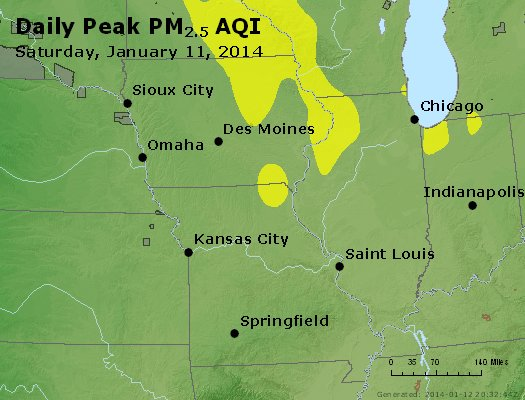 Peak Particles PM<sub>2.5</sub> (24-hour) - https://files.airnowtech.org/airnow/2014/20140111/peak_pm25_ia_il_mo.jpg