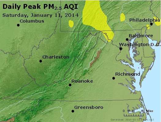 Peak Particles PM<sub>2.5</sub> (24-hour) - https://files.airnowtech.org/airnow/2014/20140111/peak_pm25_va_wv_md_de_dc.jpg