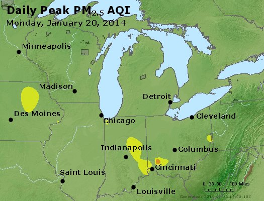 Peak Particles PM<sub>2.5</sub> (24-hour) - https://files.airnowtech.org/airnow/2014/20140120/peak_pm25_mi_in_oh.jpg