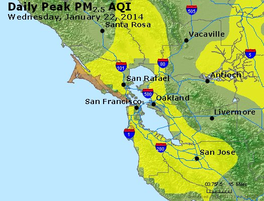 Peak Particles PM<sub>2.5</sub> (24-hour) - https://files.airnowtech.org/airnow/2014/20140122/peak_pm25_sanfrancisco_ca.jpg