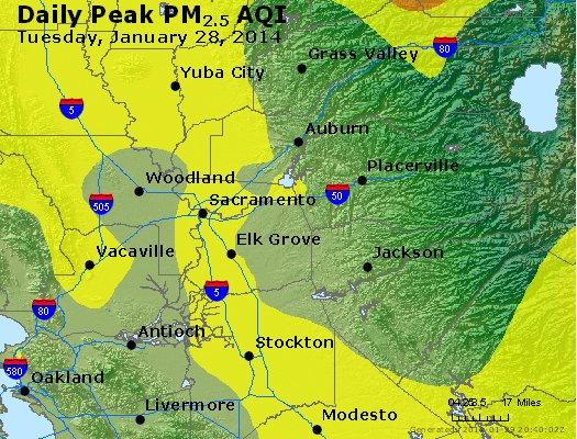 Peak Particles PM<sub>2.5</sub> (24-hour) - https://files.airnowtech.org/airnow/2014/20140128/peak_pm25_sacramento_ca.jpg