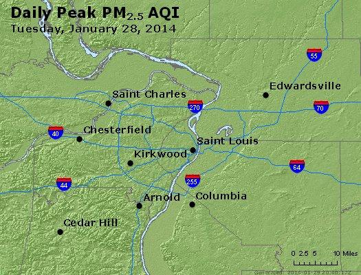 Peak Particles PM<sub>2.5</sub> (24-hour) - https://files.airnowtech.org/airnow/2014/20140128/peak_pm25_stlouis_mo.jpg