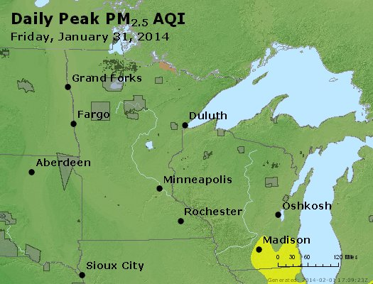 Peak Particles PM<sub>2.5</sub> (24-hour) - https://files.airnowtech.org/airnow/2014/20140131/peak_pm25_mn_wi.jpg