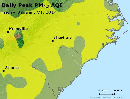 Peak Particles PM<sub>2.5</sub> (24-hour) - https://files.airnowtech.org/airnow/2014/20140131/peak_pm25_nc_sc.jpg
