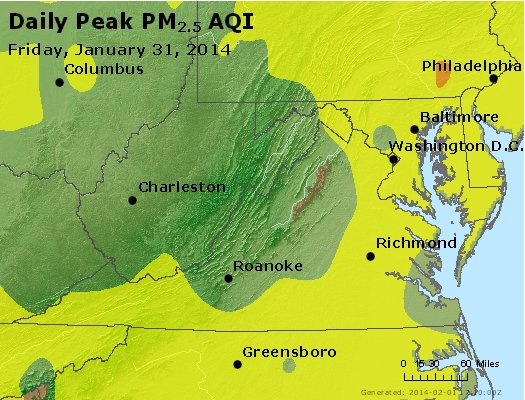 Peak Particles PM<sub>2.5</sub> (24-hour) - https://files.airnowtech.org/airnow/2014/20140131/peak_pm25_va_wv_md_de_dc.jpg