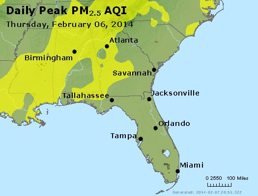 Peak Particles PM<sub>2.5</sub> (24-hour) - https://files.airnowtech.org/airnow/2014/20140206/peak_pm25_al_ga_fl.jpg