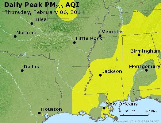 Peak Particles PM2.5 (24-hour) - https://files.airnowtech.org/airnow/2014/20140206/peak_pm25_ar_la_ms.jpg