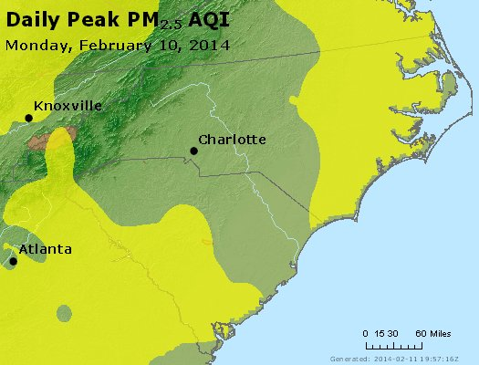 Peak Particles PM2.5 (24-hour) - https://files.airnowtech.org/airnow/2014/20140210/peak_pm25_nc_sc.jpg