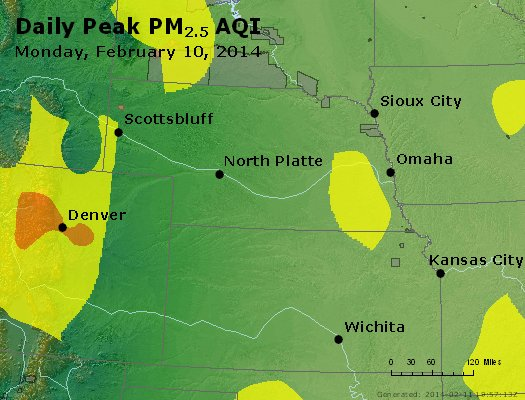 Peak Particles PM<sub>2.5</sub> (24-hour) - https://files.airnowtech.org/airnow/2014/20140210/peak_pm25_ne_ks.jpg