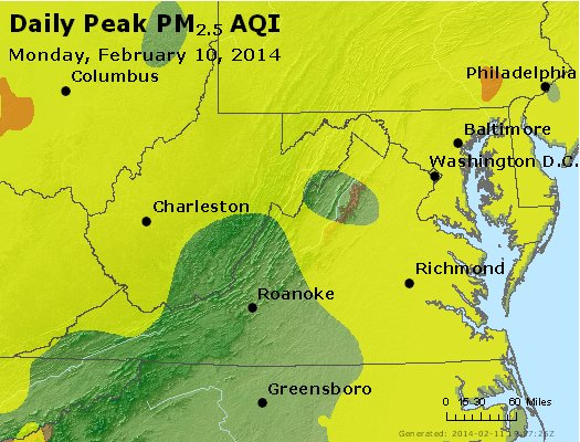 Peak Particles PM<sub>2.5</sub> (24-hour) - https://files.airnowtech.org/airnow/2014/20140210/peak_pm25_va_wv_md_de_dc.jpg