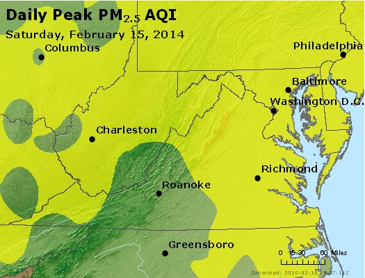 Peak Particles PM<sub>2.5</sub> (24-hour) - https://files.airnowtech.org/airnow/2014/20140215/peak_pm25_va_wv_md_de_dc.jpg