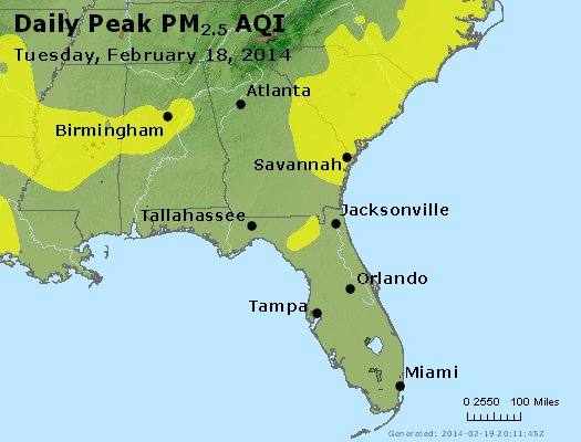 Peak Particles PM<sub>2.5</sub> (24-hour) - https://files.airnowtech.org/airnow/2014/20140218/peak_pm25_al_ga_fl.jpg