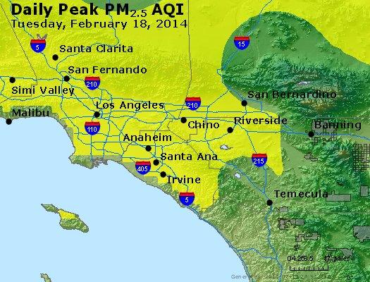 Peak Particles PM<sub>2.5</sub> (24-hour) - https://files.airnowtech.org/airnow/2014/20140218/peak_pm25_losangeles_ca.jpg