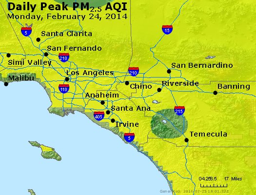 Peak Particles PM<sub>2.5</sub> (24-hour) - https://files.airnowtech.org/airnow/2014/20140224/peak_pm25_losangeles_ca.jpg