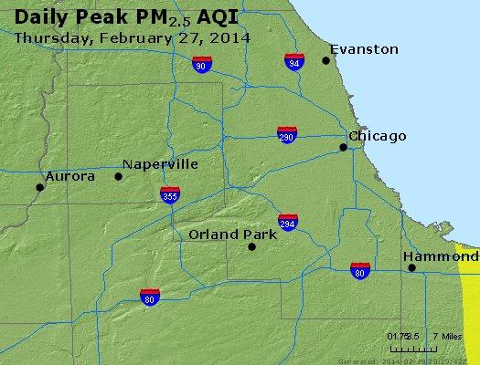 Peak Particles PM<sub>2.5</sub> (24-hour) - https://files.airnowtech.org/airnow/2014/20140227/peak_pm25_chicago_il.jpg