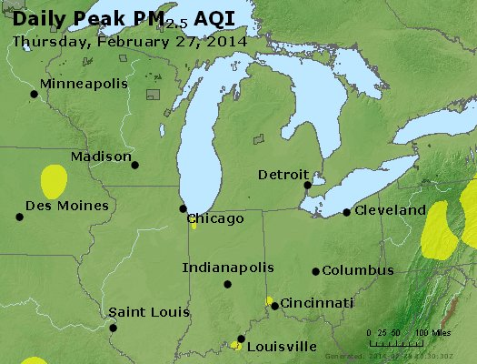 Peak Particles PM<sub>2.5</sub> (24-hour) - https://files.airnowtech.org/airnow/2014/20140227/peak_pm25_mi_in_oh.jpg