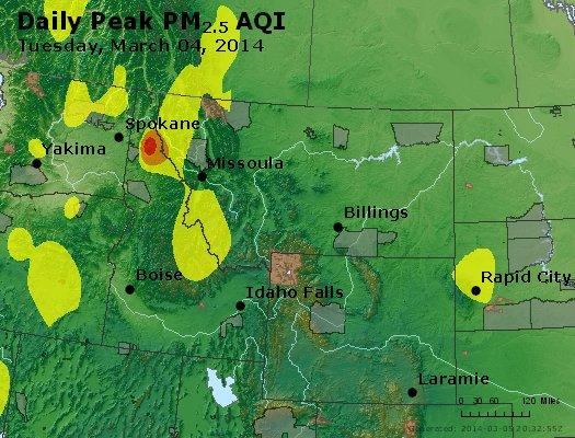 Peak Particles PM<sub>2.5</sub> (24-hour) - https://files.airnowtech.org/airnow/2014/20140304/peak_pm25_mt_id_wy.jpg