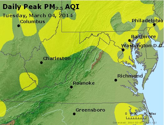 Peak Particles PM<sub>2.5</sub> (24-hour) - https://files.airnowtech.org/airnow/2014/20140304/peak_pm25_va_wv_md_de_dc.jpg