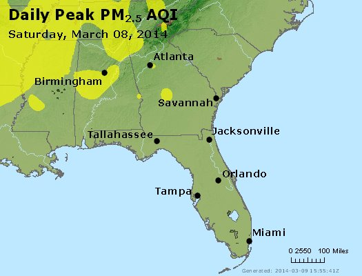 Peak Particles PM<sub>2.5</sub> (24-hour) - https://files.airnowtech.org/airnow/2014/20140308/peak_pm25_al_ga_fl.jpg