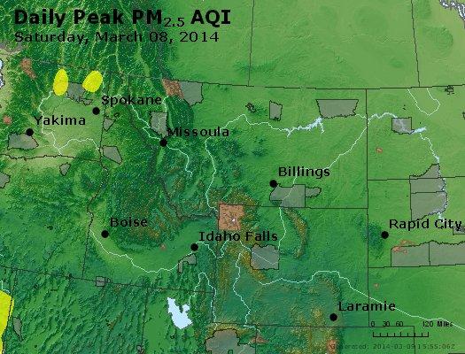 Peak Particles PM<sub>2.5</sub> (24-hour) - https://files.airnowtech.org/airnow/2014/20140308/peak_pm25_mt_id_wy.jpg