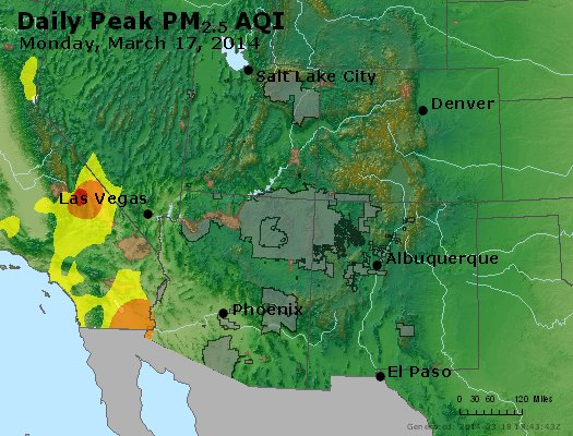 Peak Particles PM<sub>2.5</sub> (24-hour) - https://files.airnowtech.org/airnow/2014/20140317/peak_pm25_co_ut_az_nm.jpg