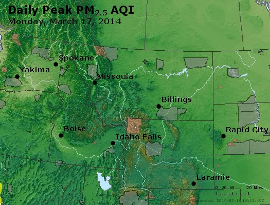 Peak Particles PM<sub>2.5</sub> (24-hour) - https://files.airnowtech.org/airnow/2014/20140317/peak_pm25_mt_id_wy.jpg