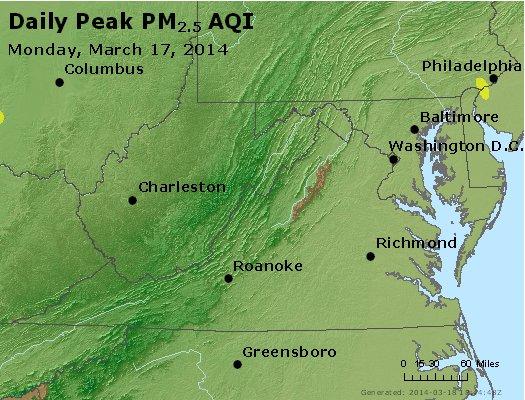 Peak Particles PM<sub>2.5</sub> (24-hour) - https://files.airnowtech.org/airnow/2014/20140317/peak_pm25_va_wv_md_de_dc.jpg